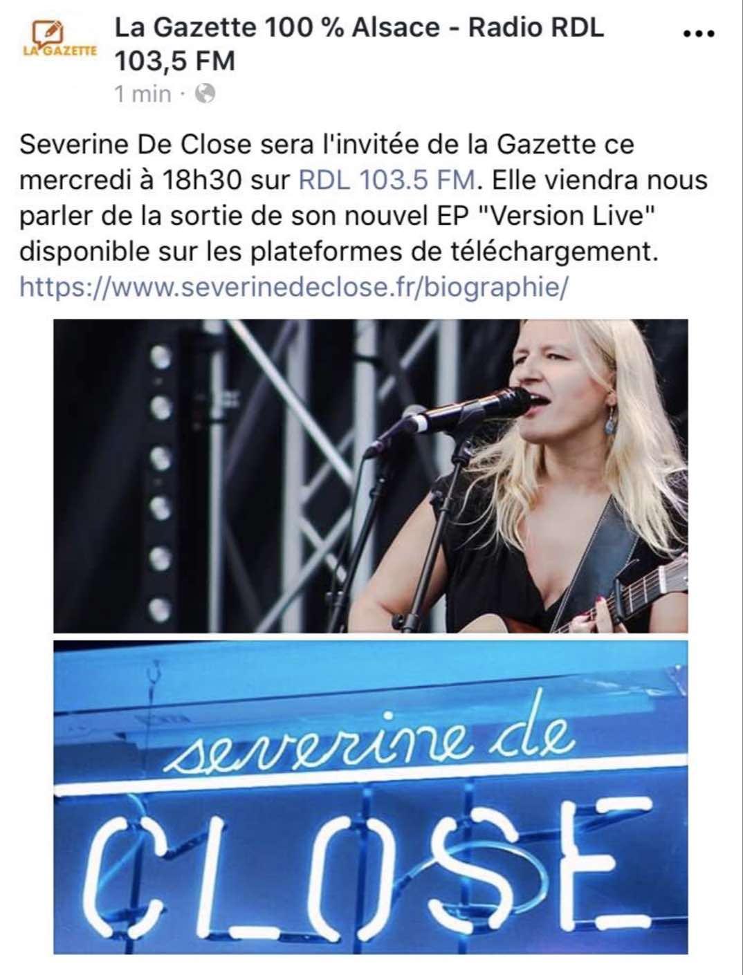 Interview dans l'émission La Gazette sur Radio RDL 103.5 fm - 05/09/18
