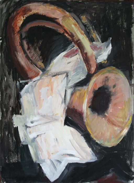 2012 Tuba mit Blätter 60x85 Öl