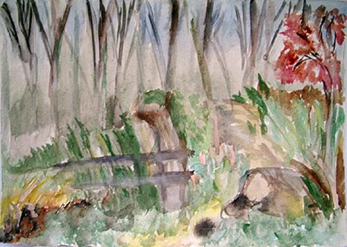 1985  Im Wald   36,5x 26,0 Aquarell