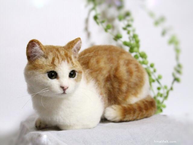 羊毛フェルト猫 茶白ねこ needlefeltedcat