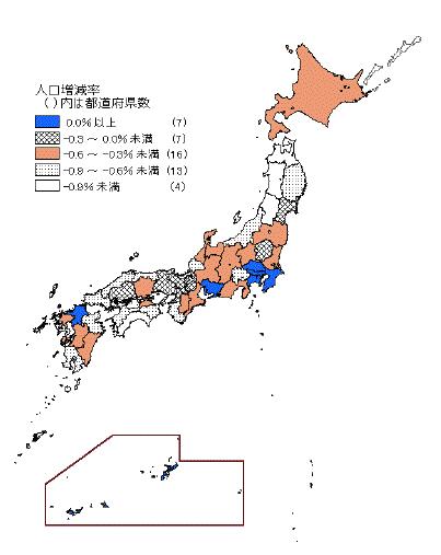 都道府県別人口増減率,減少,日本地図,統計,データ,吉川浩一