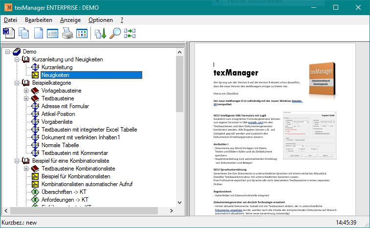 Textbausteine verwalten und in der zoombaren Vorschau komplett anzeigen.