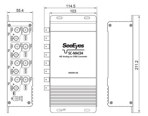 HDアナログ  ⇒ アナログ変換コンバーター (SC-MAC04) 製品図面