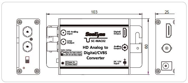 HDアナログto HDMI&アナログ変換コンバーター(SC-MAC02) 製品図面