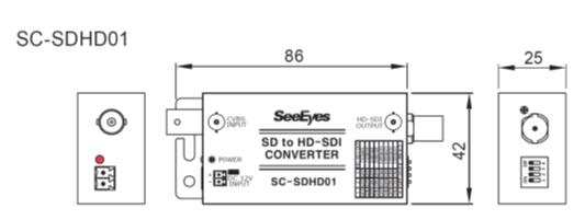 アナログ to HD-SDI 変換コンバーター - 製品図面
