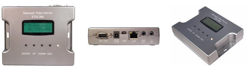 GPSネットワークタイムサーバー前面、側面写真