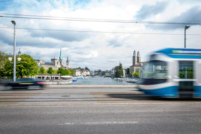 tram in the city of Zurich