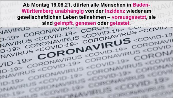 Ab Montag 16.08.21 in Baden-Württemberg neue Corona-Regeln