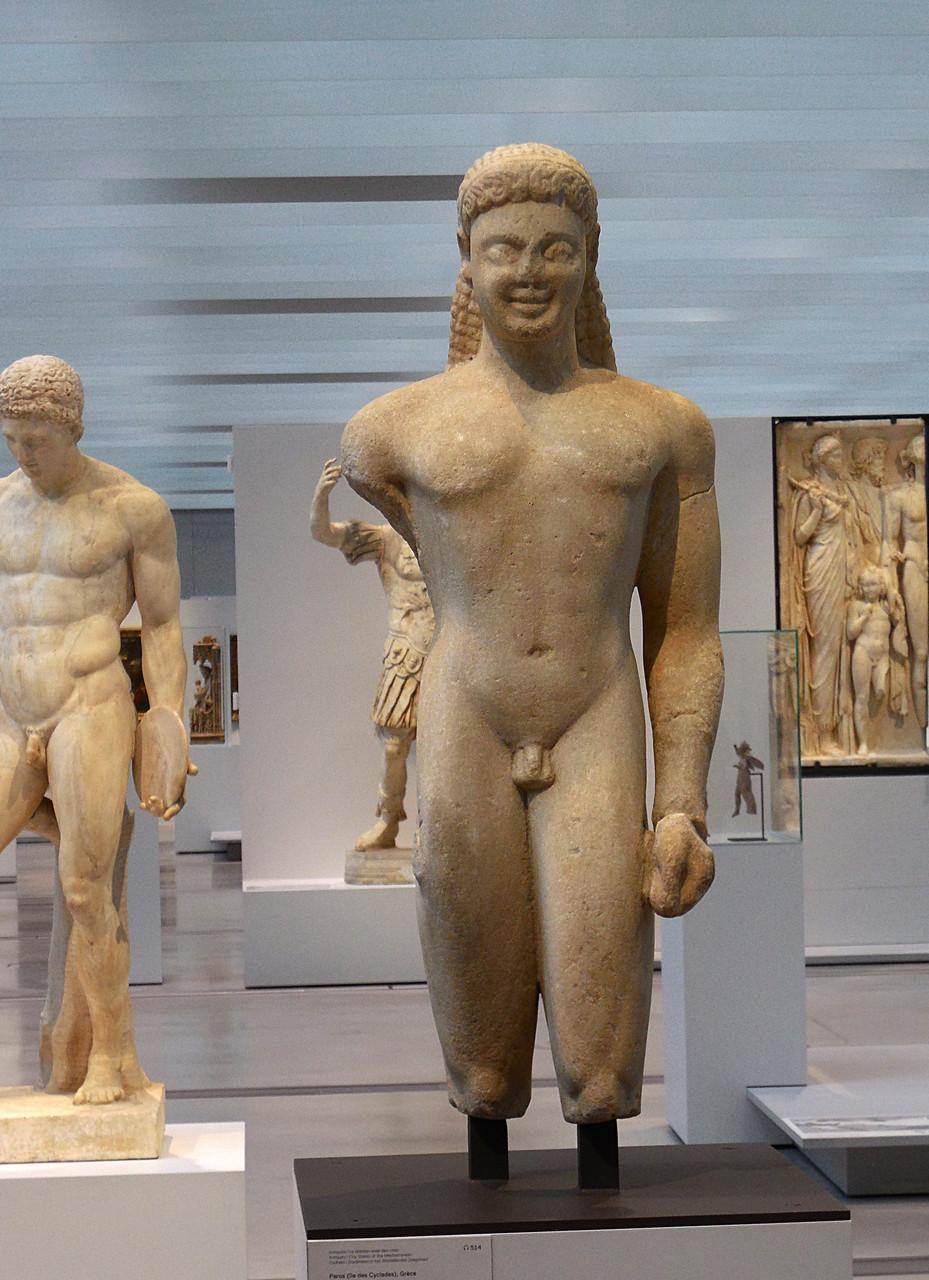 540 av J.C., Grèce, Paros (Cyclades), Jeune homme nu dit Couros