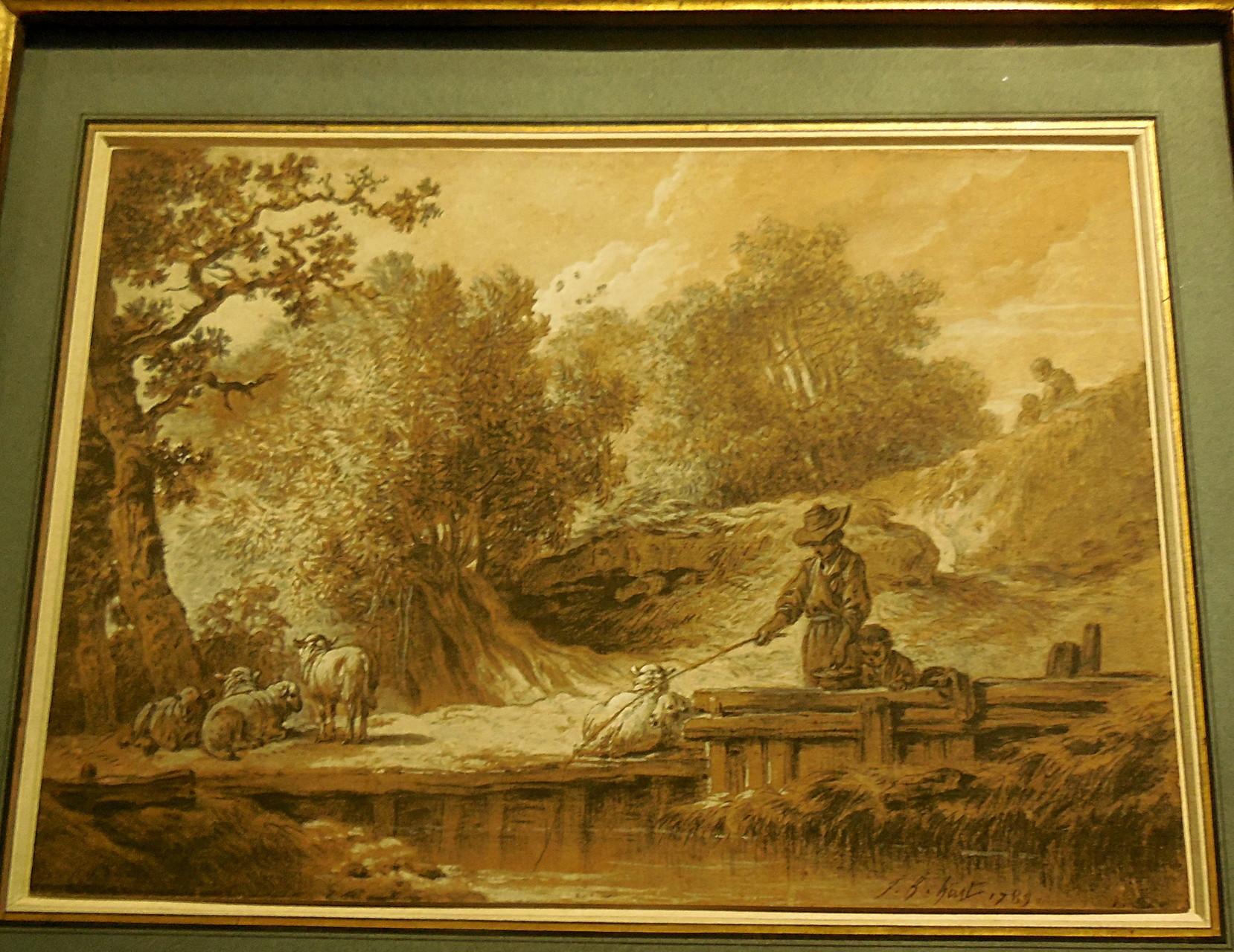 Huet J-B, Enfant pêchant au bord d'une rivière, 1789, Coll privée / Photo JH