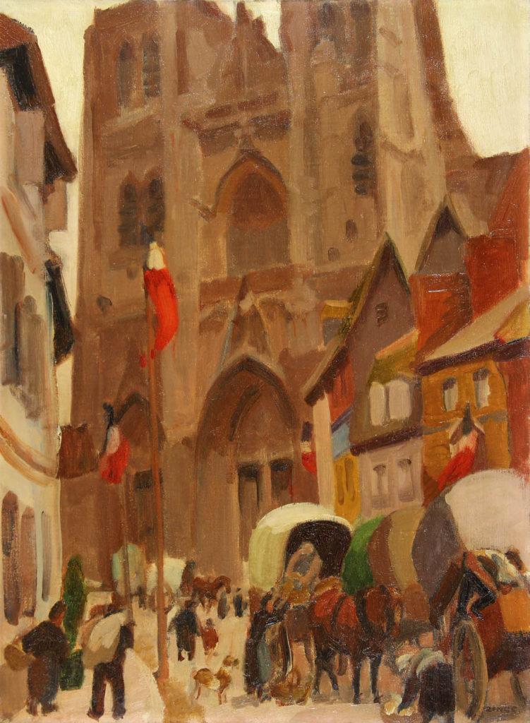 Toile de Jules-Emile Zingg : la cathédrale Saint-Vulfran