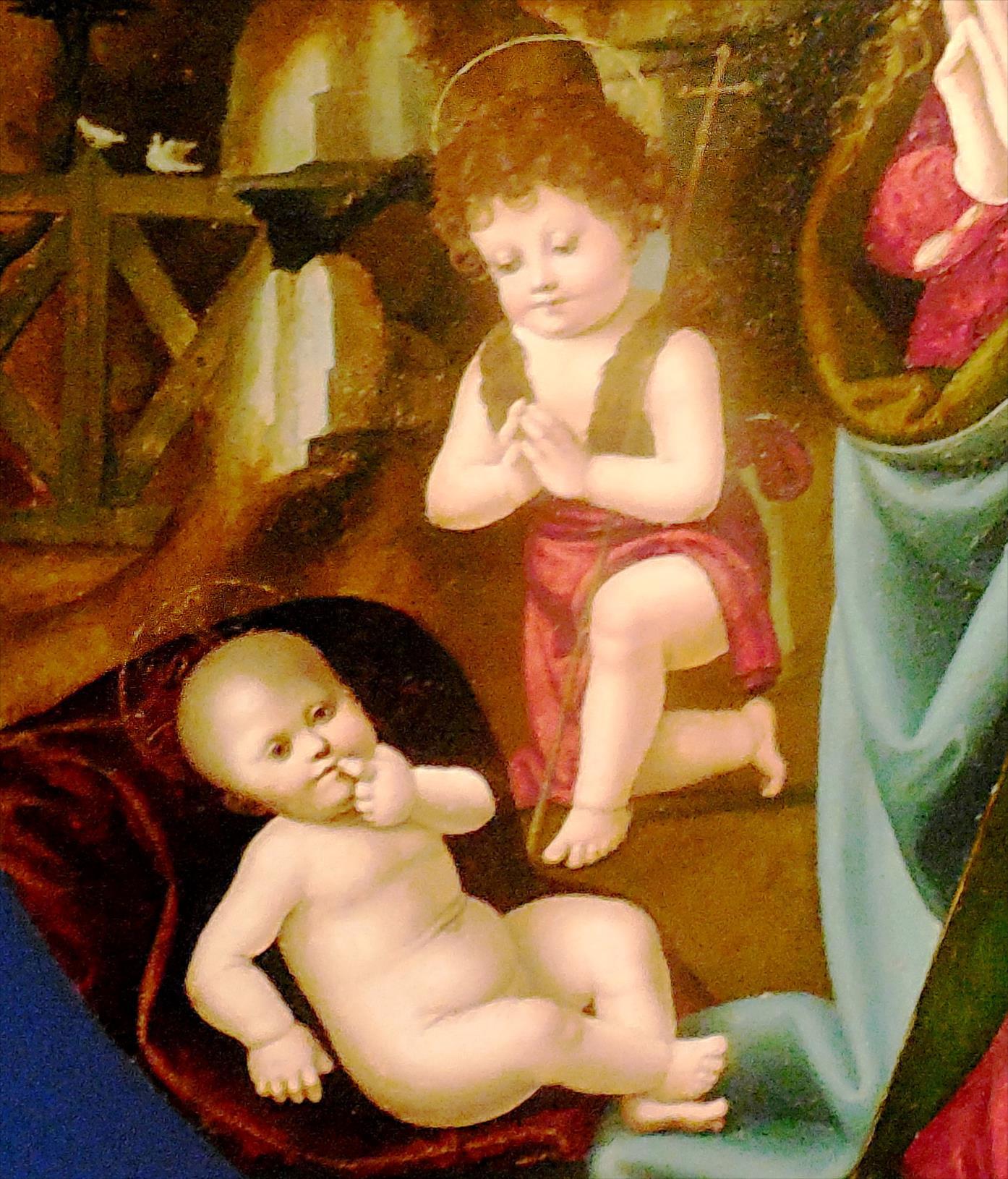 La Sainte Famille, détail avec L'Enfant Jésus et St Jean-Baptiste