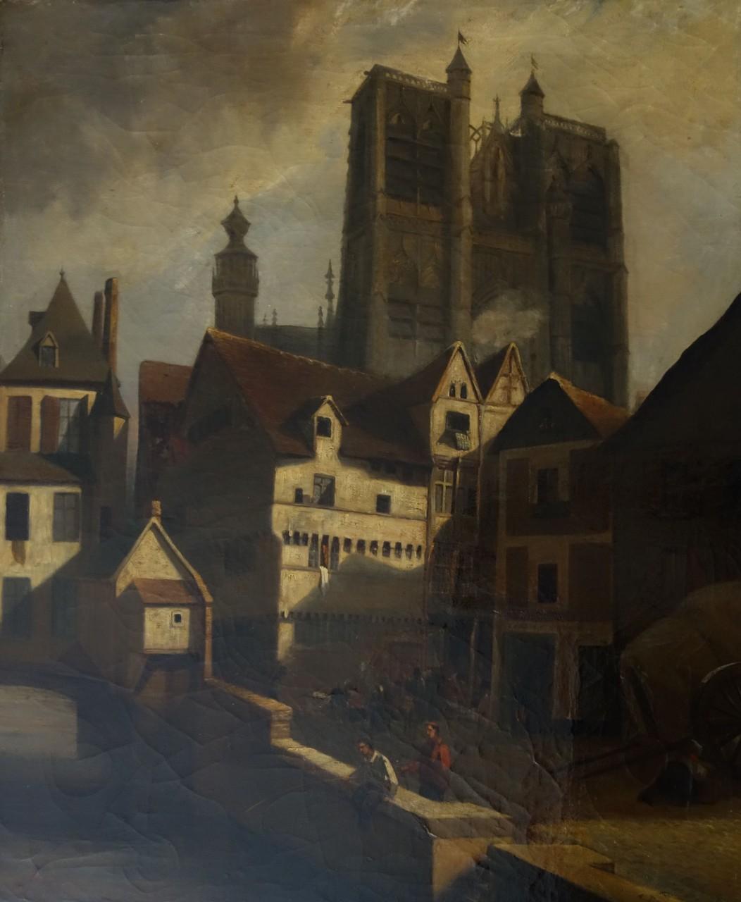 Adrien DAUZATS Vue de la collégiale Saint-Vulfran depuis le Guindal, Don AAMBdP / Photo Musée