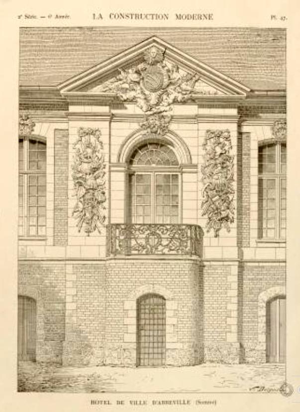 Bâtiment après 1732, au centre fronton et balcon