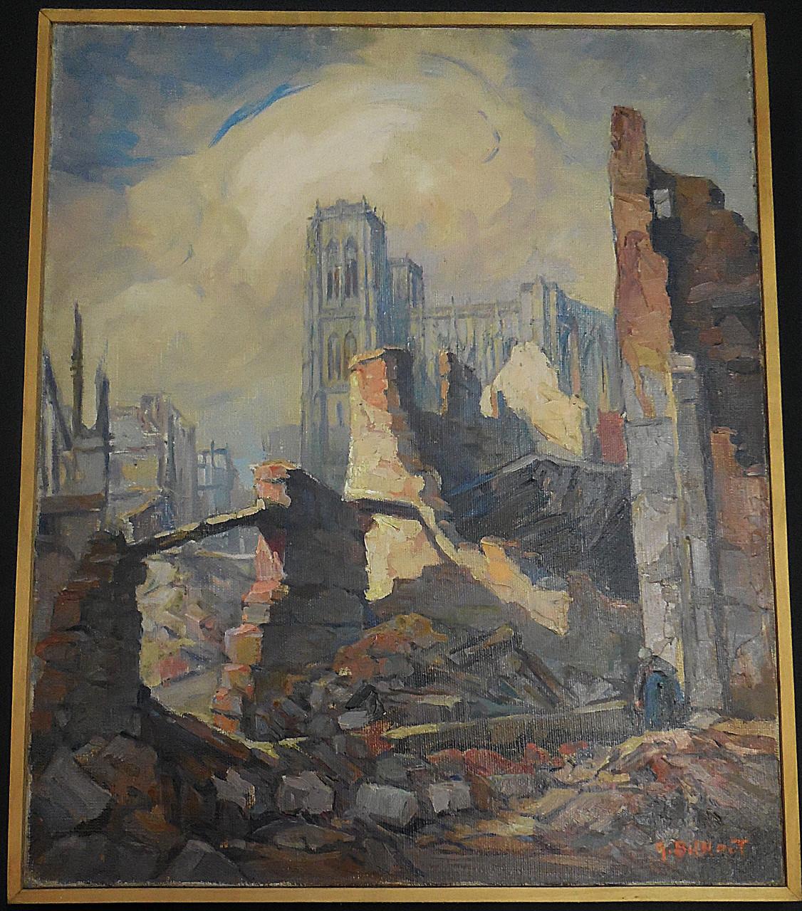 Bilhaut Georges (1882-1963) Saint-Vulfran vue des ruines de la rue de l'Hôtel-Dieu, 1940, huile sur toile / Musée Boucher-de-Perthes, Abbeville / photo JH