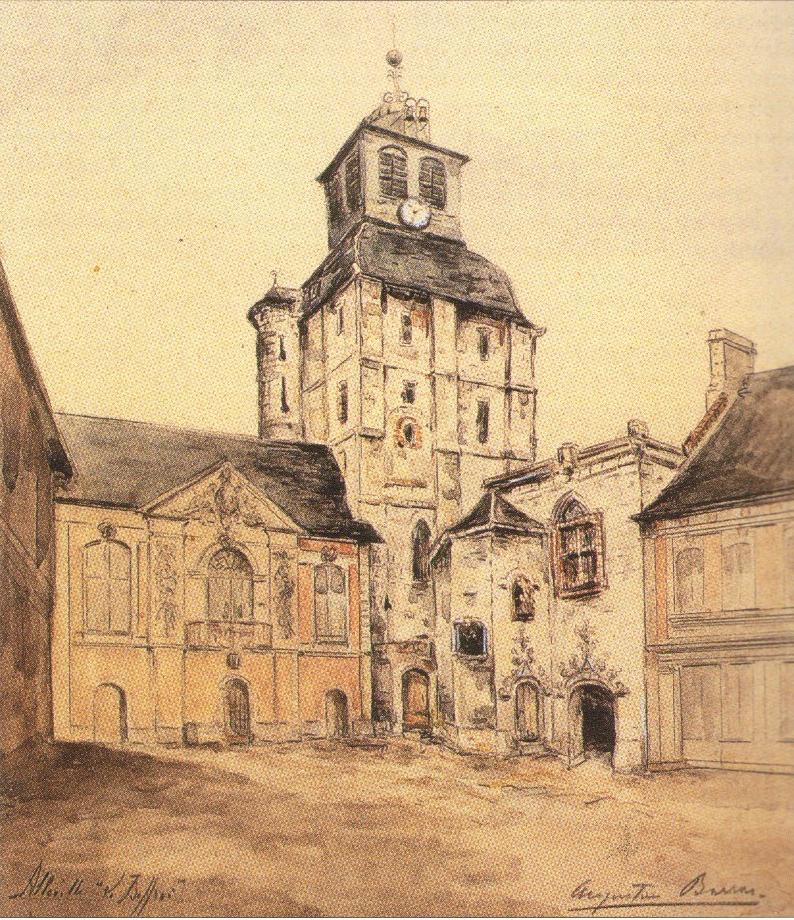 Beffroi, aquarelle d'Augustin Barras, XIXe siècle