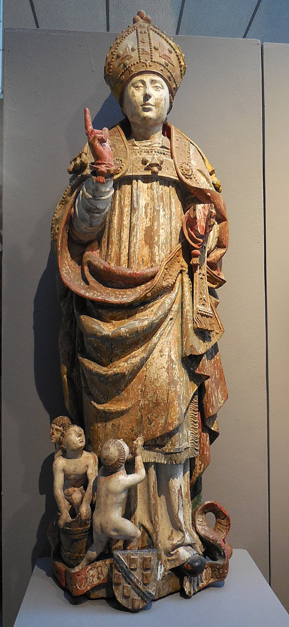 Anonyme, Saint Nicolas, bois polychromé, vers 1500 / Musée Boucher-de-Perthes, Abbeville / photo JH