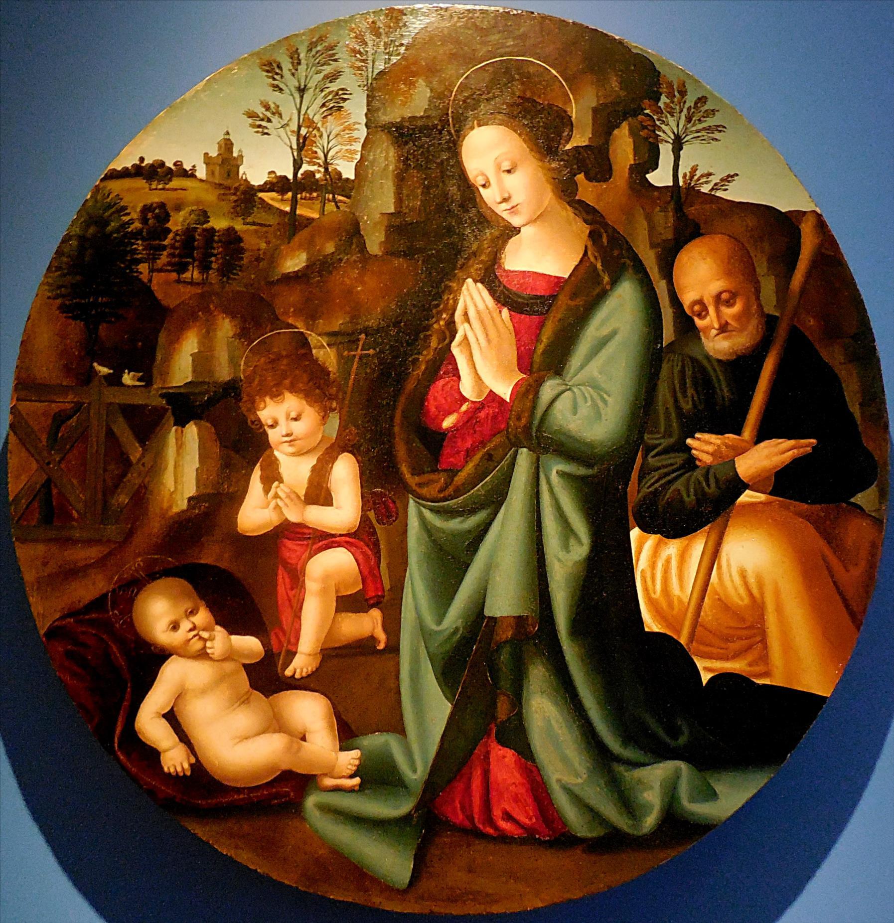 Maestro del tondo Campana, La Sainte Famille adorant l'Enfant, vers 1510/ La Fère, Musée Jeanne d'Aboville
