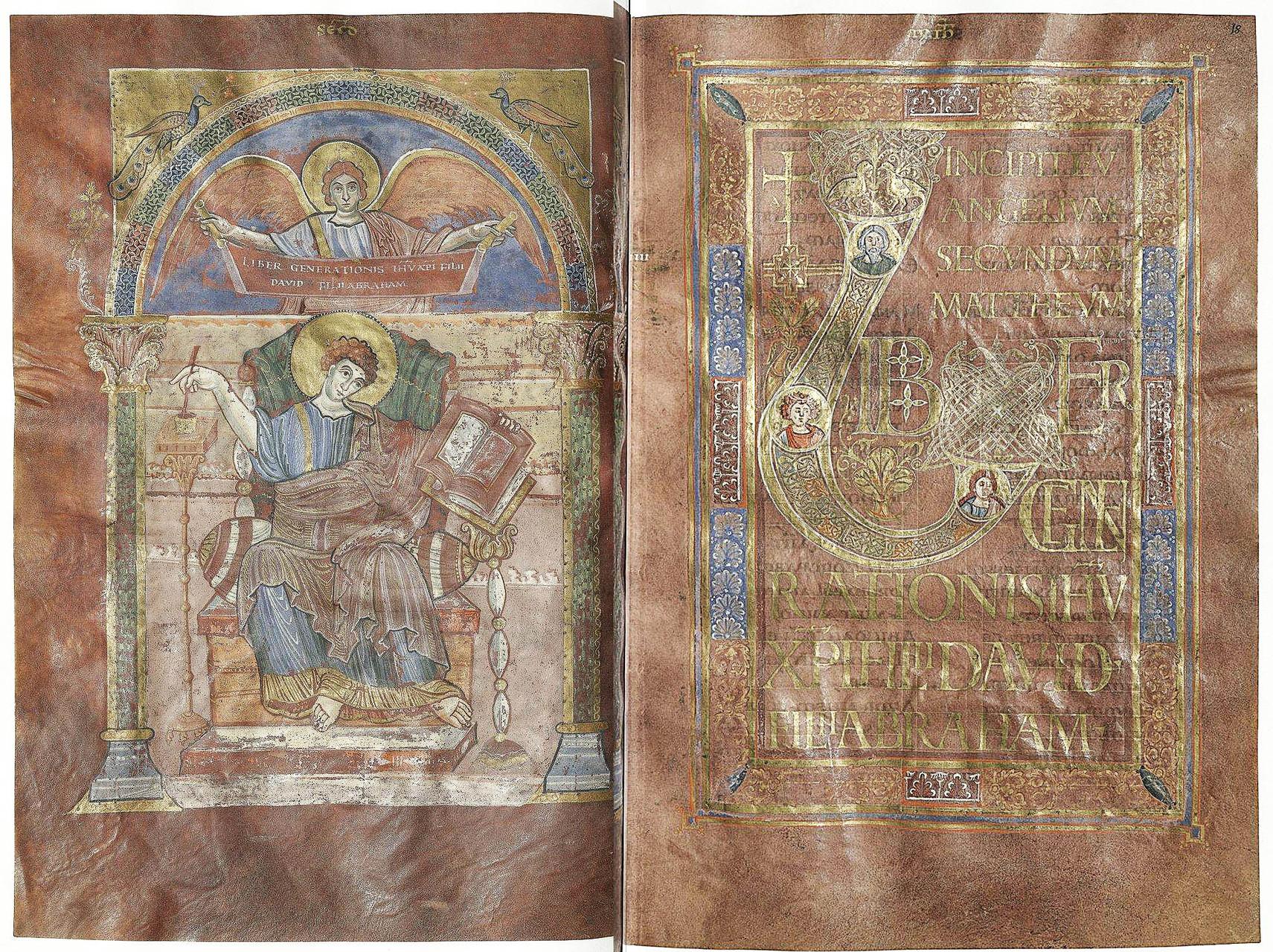 Double page  Saint Mathieu folio 17v et Incipit de l'évangile de St Matthieu f.18r