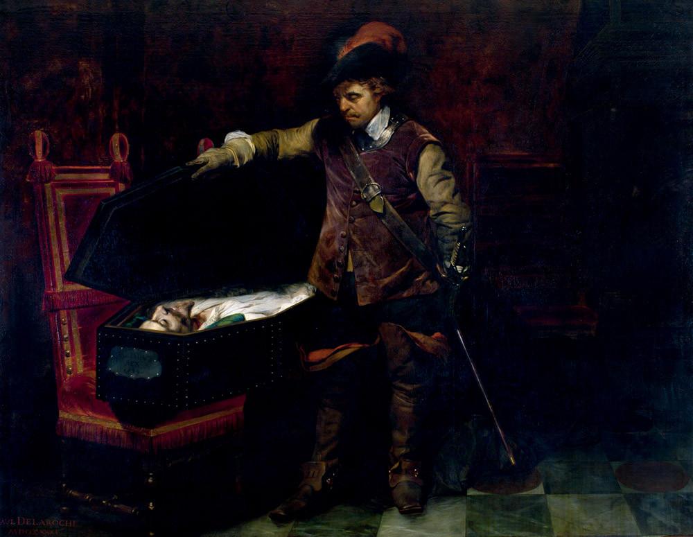 Delaroche Paul : Cromwell ouvrant le cercueil de Charles 1er. 1831. MBA Nîmes