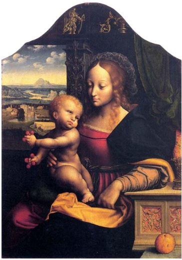Fig. 1.  Joos van Cleve et atelier, La Vierge aux cerises,  vers 1525, huile sur chêne, 74,2 x 52,1 cm, ©Aix-la-Chapelle, Suermondt-Ludwig-Museum