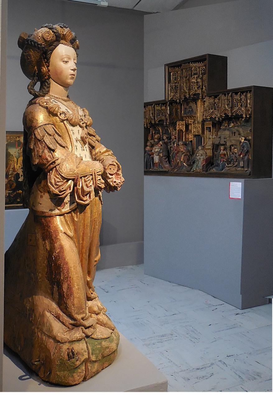 Anonyme, Sainte en prière, bois polychrome, Picardie XVIe s / Musée Boucher-de-Perthes, Abbeville / photo JH