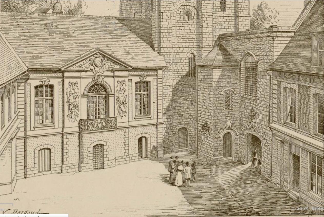Beffroi 1901, la cour, salle des échevins à gauche, trésorerie à droite