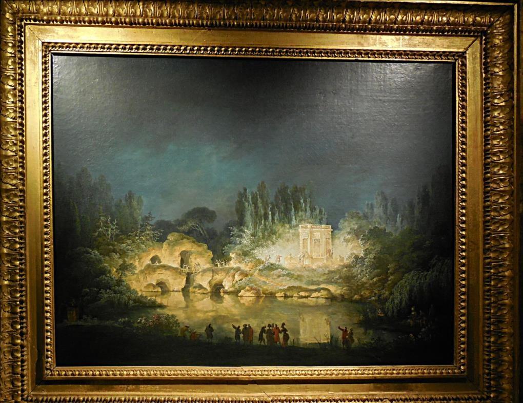 Illumination du pavillon du Belvédère et du Rocher dans le jardin du Petit Trianon, en 1781, Claude-Louis Châtelet, 1781