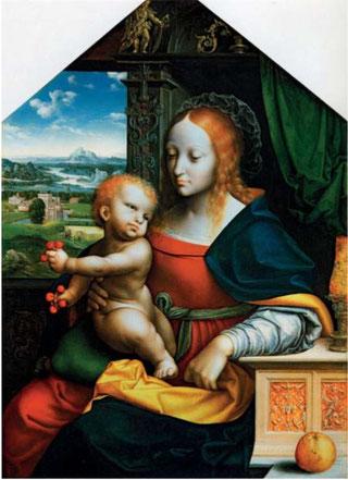 Fig. 2.  Joos van Cleve et atelier, La Vierge aux cerises,  vers 1525, huile sur bois, 71 x 51 cm, New York, Collection Hester Diamond