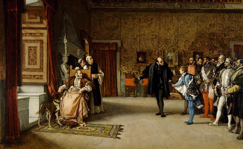 Rosales Eduardo : Don Juan d'Autriche présenté à Charles Quint. 1869. MBA Lyon
