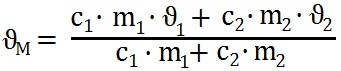 Formel zur Berechnung der Mischtemperatur von zwei verschiedenen Flüssigkeiten