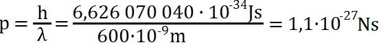 Beispielaufgabe zur Berechnung des Impulses eines Photons