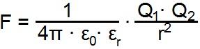 Formel zur Berechnung der Abstoßenden Kraft zweier Ladungen