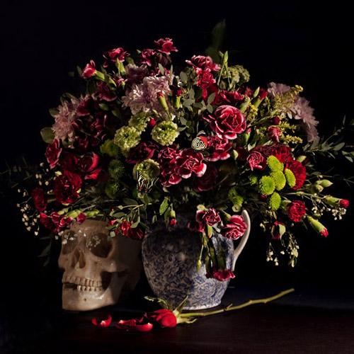 Vanitas 02, colour version , still life of flowers and skull