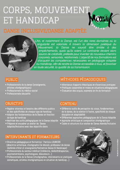 Formations Danses et Handicap - flyer 2018 Mozaïk Danses