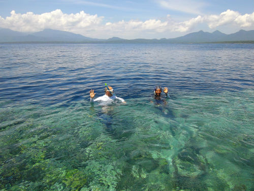 Plonger prés d' une île entourée coraux magnifiques