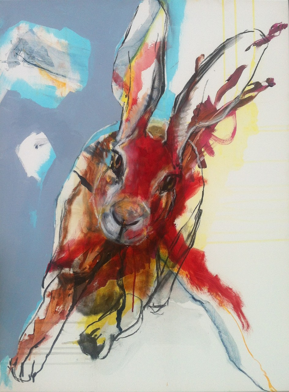 Hase rennt -  Acryl, Kohle, Kreide auf Leinwand   80 cm x 60 cm