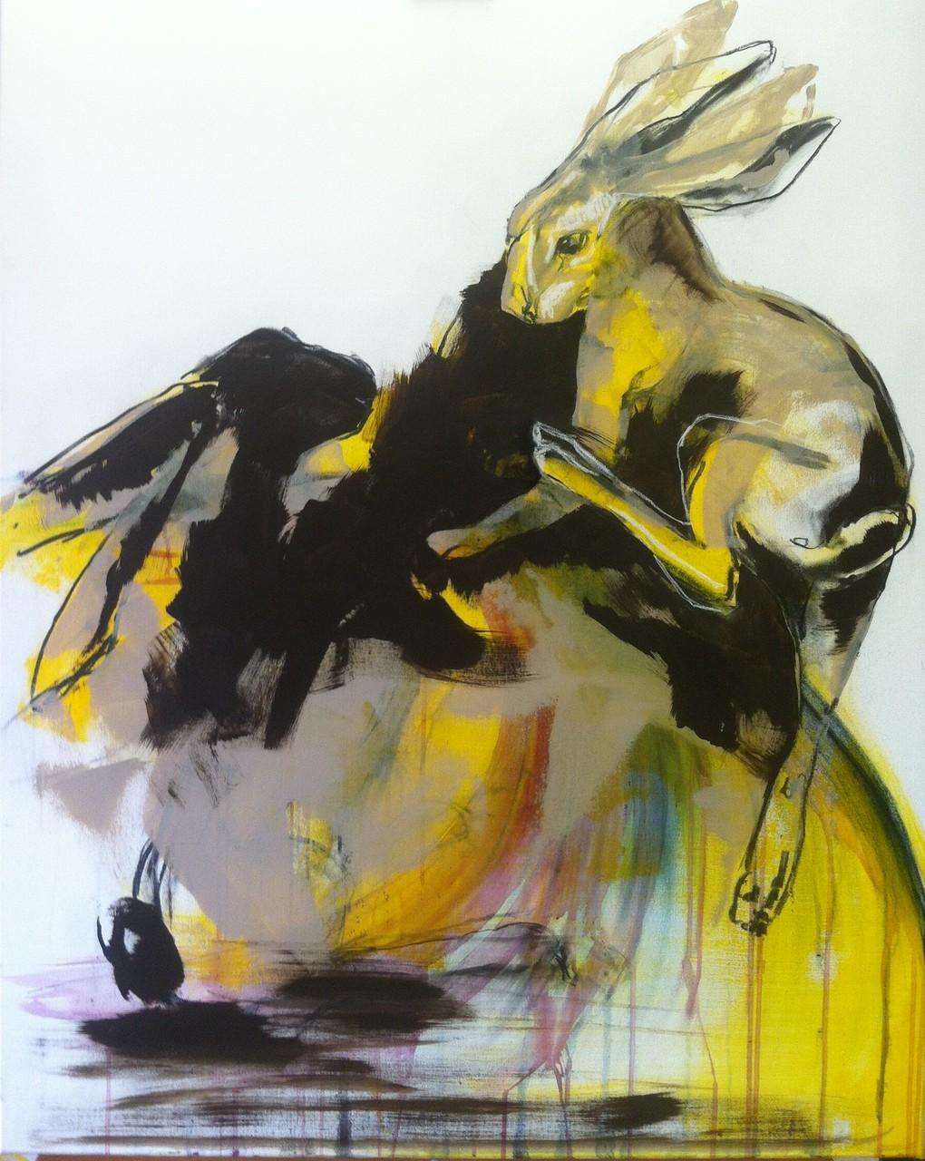 Hasen -  Acryl, Kohle, Kreide auf Leinwand   100 cm x 80 cm