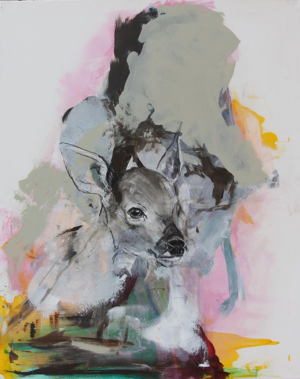 Schattenmann -  Acryl, Kohle, Kreide auf Leinwand   100 cm x 80 cm
