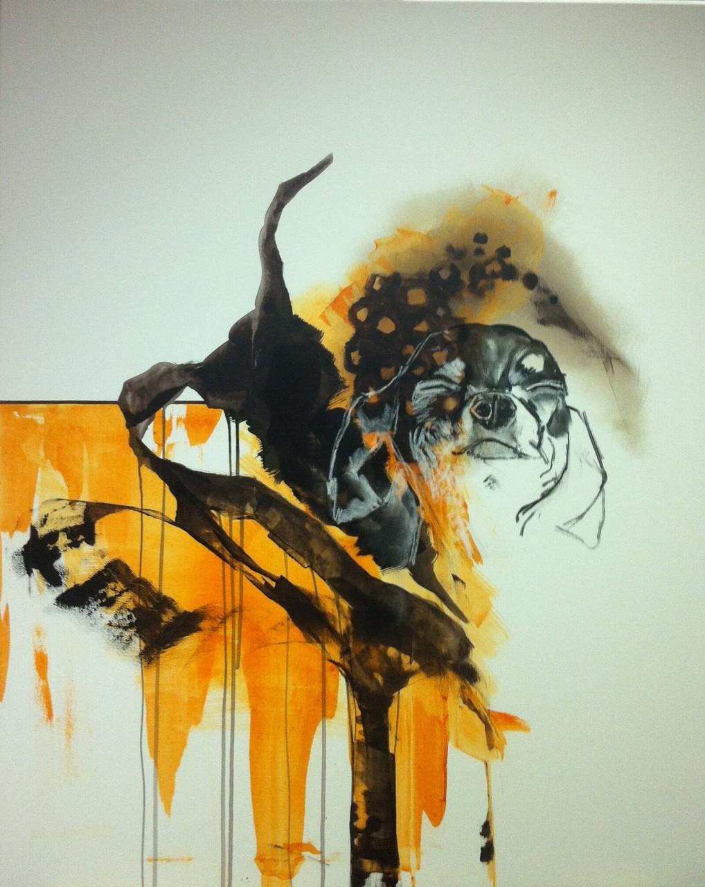 Forschungen eines Hundes I -  Acryl, Kohle, Kreide auf Leinwand   100 cm x 80 cm