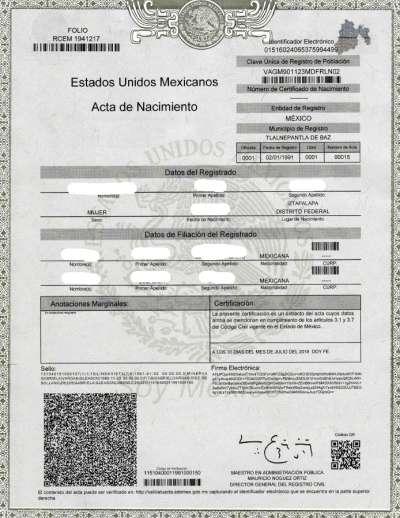 Vereidigte Übersetzung Geburtsurkunde Spanisch->Deutsch