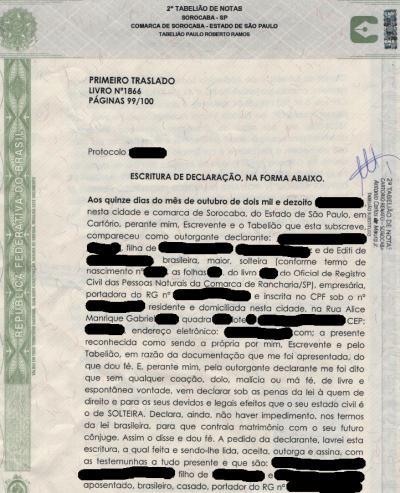 Brasilianische Ledigkeitsbescheinigung certidão de solteiro