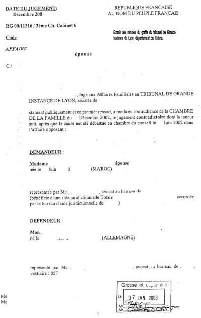 Beglaubigte Übersetzung jugement de divorce Französisch Deutsch