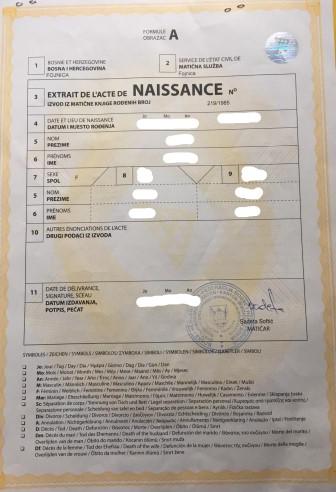 Amtliche Übersetzung Geburtsurkunde Französisch->Deutsch