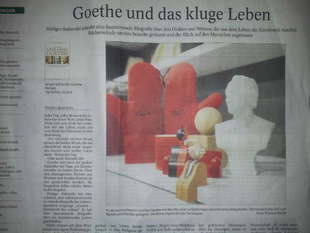 Goethe Figur in der Thüringer  Allgemeine zum Sonntag, August 31.08.2013