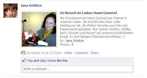 Facebook Artikel zum Besuch von Hanni Gummel bei Klick Germany