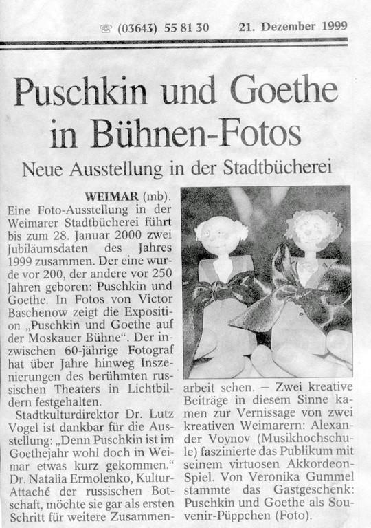 Puschkin und Goethe in Bühnen-Fotos