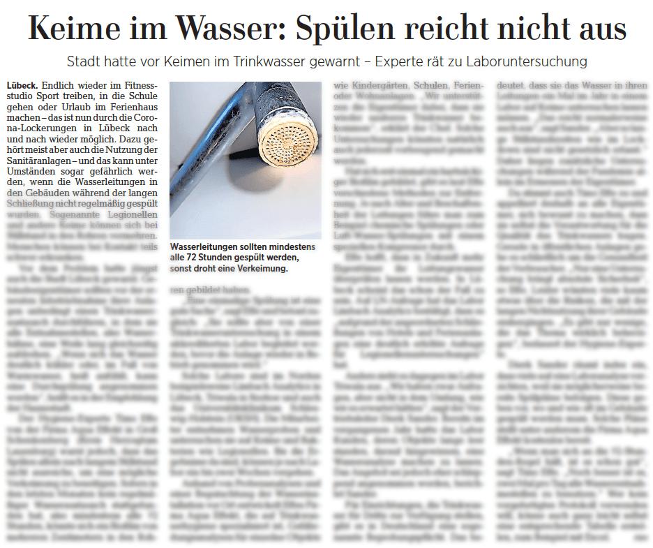 Lübecker Nachrichten: Keime im Lübecker Trinkwasser
