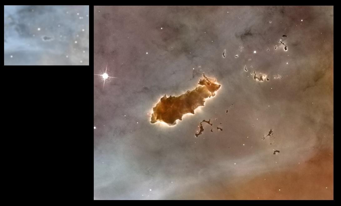 """la nébuleuse de la """"chenille"""", comparaison avec le télescope spatial Hubble"""