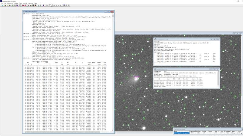 informations transmises au MPC pour affiner les paramètres orbitaux